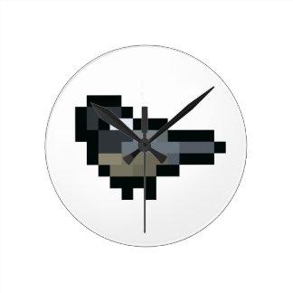 8-Bit Retro Chickadee Round Clock