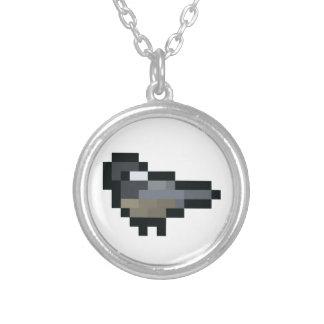 8-Bit Retro Chickadee Silver Plated Necklace