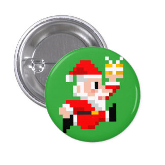 8-Bit Santa Claus Christmas Mini Button
