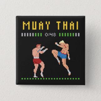 8-Bit Thai Boxing 15 Cm Square Badge