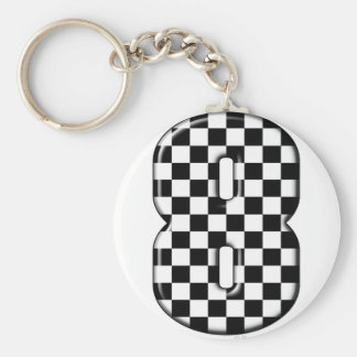 8 checkered auto racing number key ring