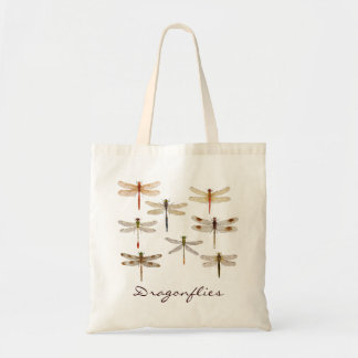 8 different dragonflies tote bag