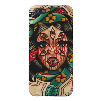 8 Eyed Tattoo Style Watercolor Girl with Snake Case For iPhone 5/5S
