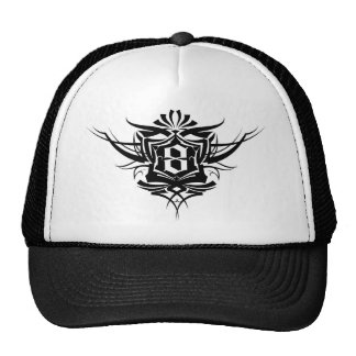 8 Gothic Tattoo number Black Cap