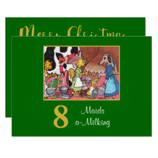 8 Maids a Milking Cute Animals Custom Christmas Card