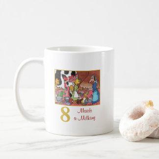 8 Maids a-Milking Cute Animals & Typography Coffee Mug