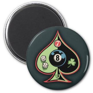 8 of Spades 6 Cm Round Magnet