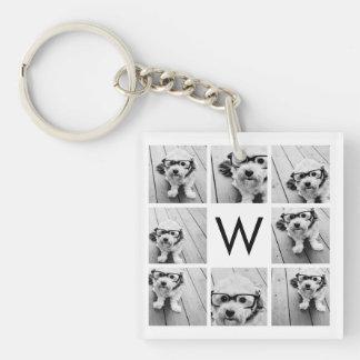 8 Photo Collage Custom Monogram Black and White Double-Sided Square Acrylic Key Ring
