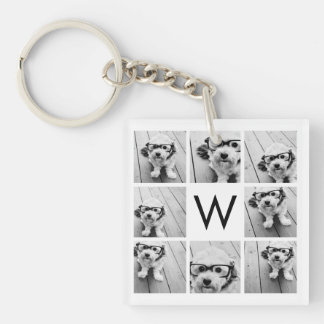 8 Photo Collage Custom Monogram Black and White Key Ring