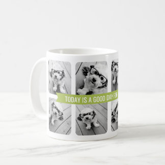 8 Photo Collage with Custom Text Ribbon - Green Coffee Mug