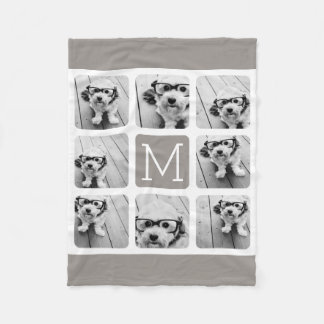 8 Photo Collage with Monogram - Neutral Taupe Fleece Blanket