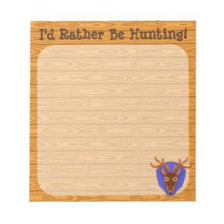 8-Point Buck Deer Hunting Trophy on Wood Grain Notepad