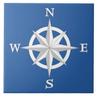 8-Point Compass Rose, White and Cobalt Blue Ceramic Tile
