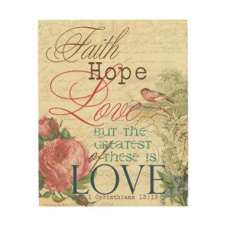 """8""""x10"""" Faith Hope Love Wood Prints"""
