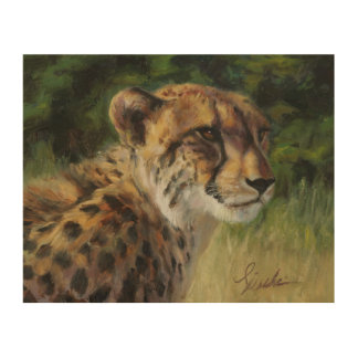 "8"" x 10"" Cheetah Wood Art Panel"
