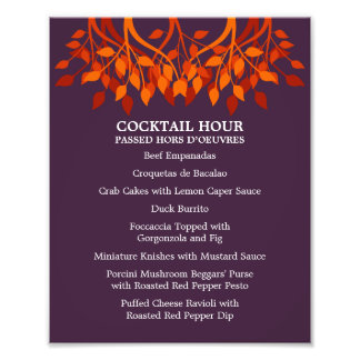 8 x 10 Cocktail Table Menu for Framing Photograph