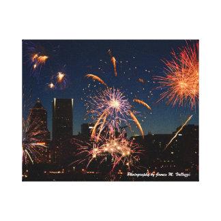 8 x 10 Fireworks Portland, Oregon Canvas Print