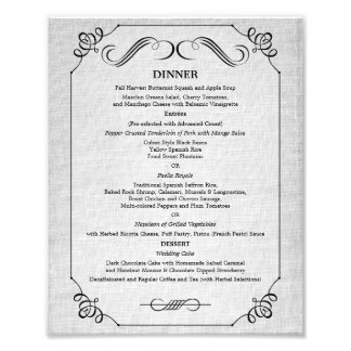 8 x 10 Vintage Linen Table Dinner Menu for Framing Photo Art