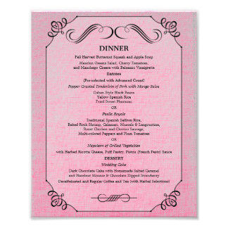 8 x 10 Vintage Linen Table Dinner Menu for Framing Photographic Print