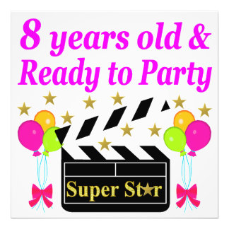 8 YEAR OLD AND READY TO PARTY MOVIE STAR DESIGN PHOTO