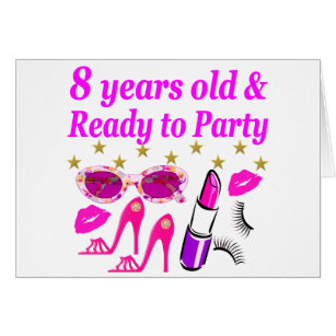 8 years old girl birthday cards invitations zazzle 8 year old and ready to party princess design card bookmarktalkfo Images