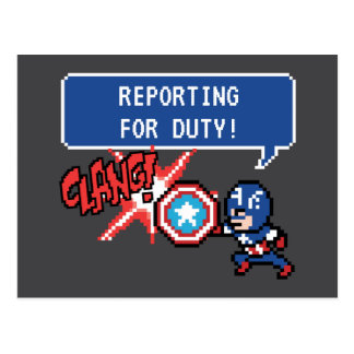 8Bit Captain America Attack - Reporting For Duty! Postcard