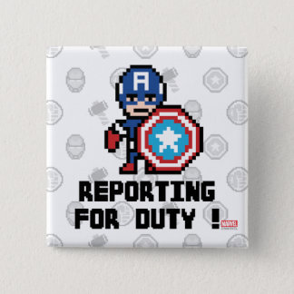 8Bit Captain America - Reporting For Duty! 15 Cm Square Badge