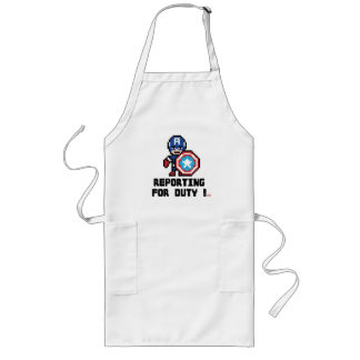 8Bit Captain America - Reporting For Duty! Long Apron