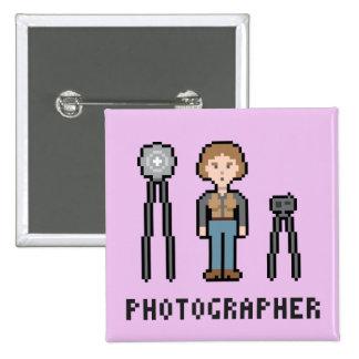 8Bit Female Photographer 15 Cm Square Badge
