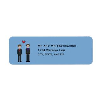 8bit Gay Pixel Gamer Groom & Groom Wedding Return Address Label