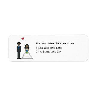 8bit Pixel Gamer Bride & Groom Wedding Return Address Label