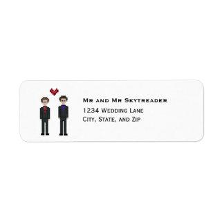 8bit Pixel Gamer Groom & Groom Gay Wedding Return Address Label