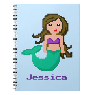 8Bit Pixel Geek Mermaid Custom - Brown Hair Spiral Notebook