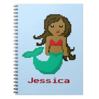 8Bit Pixel Geek Mermaid Custom - Dark Skin Spiral Notebook