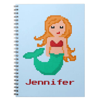 8Bit Pixel Geek Mermaid Custom Notebook
