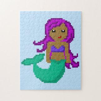 8Bit Pixel Geek Ocean Mermaid - Dark Skin Jigsaw Puzzle