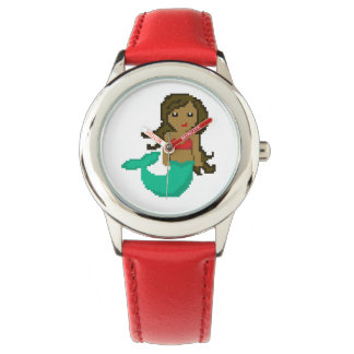 8Bit Pixel Geek Ocean Mermaid with Dark Skin Watch
