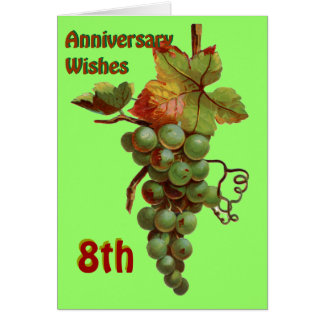 8th Anniversary wishes, customiseable Greeting Card