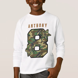 8th Birthday Boy Camo and Stars Custom Name V01H T-Shirt