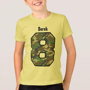 8th Birthday Boy Camo Eight Year Custom Name V01B T-Shirt