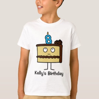 8th Birthday Cake with Candles T-Shirt