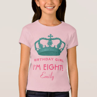 8th Birthday Custom Name Crown Gift Idea T-Shirt