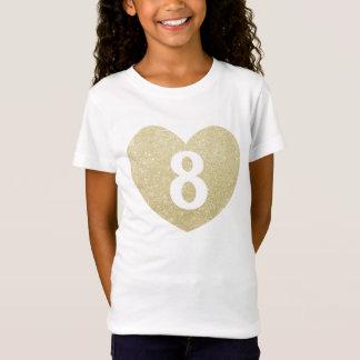 8th Birthday Girl Glitter heart Personalized T-Shirt