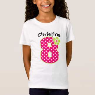 8th Birthday Girl Hot Pink & Green Dots T-Shirt