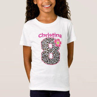 8th Birthday Girl Hot Pink & leopard print T-Shirt