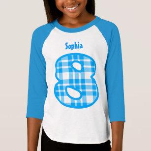 8th Birthday Girl PLAID Eight Year Custom W115 T-Shirt