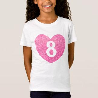 8th Birthday Glitter Pink heart Personalized T-Shirt