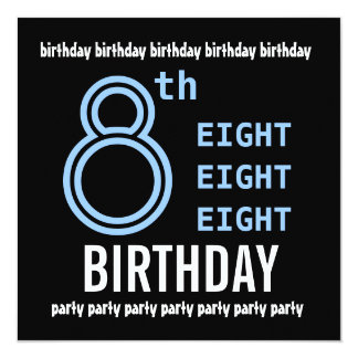 8th Birthday Party Modern Blue and Black G201 Card
