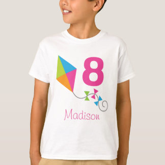 8th Birthday Personalized Kite Design Party Tshirt