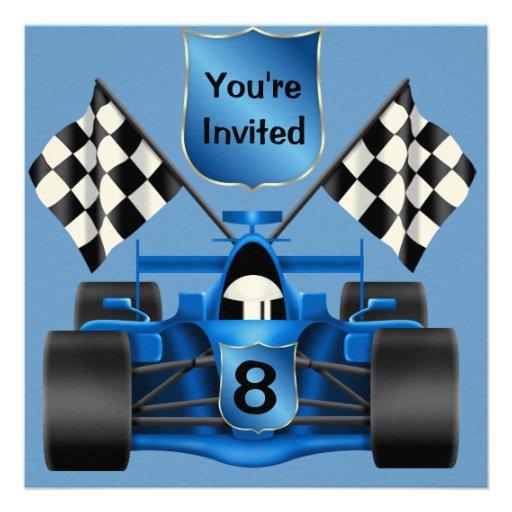 8th BIRTHDAY Race Car Invitation